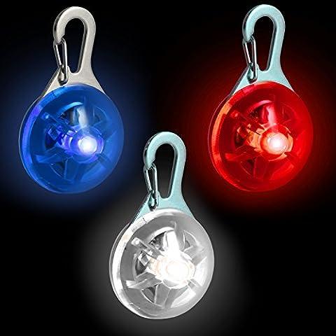 CampTeck LED Pendentif de Collier Lumineux Clignotant Nuit Sécurité pour Chien Animaux avec 3 Mode D'éclairage - Rouge, Bleu &
