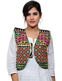 Banjara India Women's Poly Cotton Embroidered Kutchi Short Jacket/Koti (SJK-BLT01_Black_Free Size)
