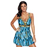 Laorchid Damen Figurformend one Piece Badeanzug Push Up Badekleid Bauchweg Große #1 XXL