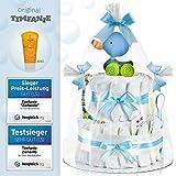 Timfanie® Windeltorte | Ziehente (2-stöckig / baby-blau)