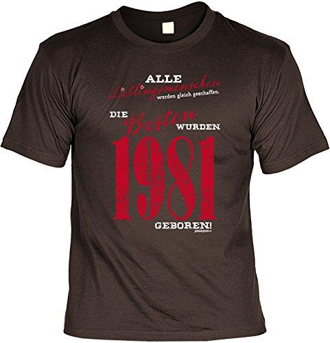 T-Shirt zum Geburtstag - Lieblingsmenschen - Die Besten wurden 1981 geboren! - Geburtstagsgeschenk - Fun shirt - braun Braun
