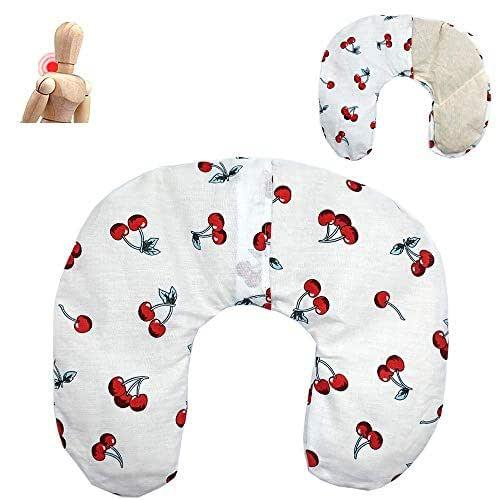 """Cuscino termico cervicale con noccioli di ciliegia""""Cherries - white"""" 36 x 32 cm - ripieno con 600gr di noccioli di ciliegie bio- per terapie del freddo e del caldo - con fodera lavabile in lavatrice"""