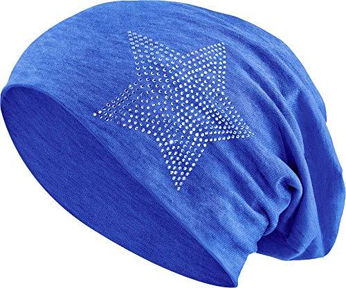 Jersey Baumwolle elastisches Long Slouch Beanie Unisex Herren Damen mit Strass Stern Steinen Mütze Heather in 35 (2) (Jeans-Blue) -