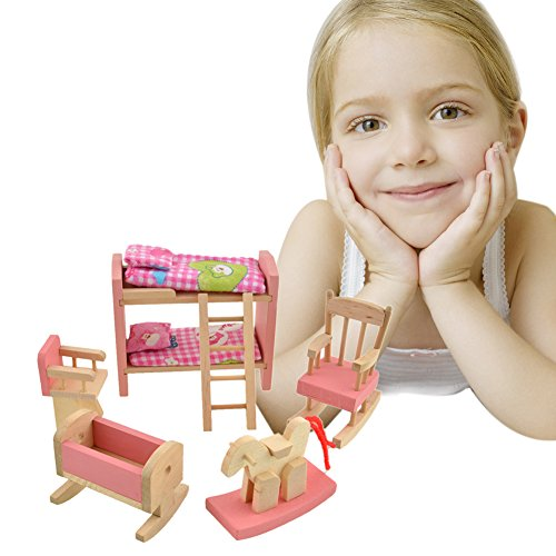Demiawaking Delicate House Furniture Pink Wooden Dolls Toy Miniature Baby Nursery Room Crib Chair Bunk Bed Pretend Play Kids Children Gift
