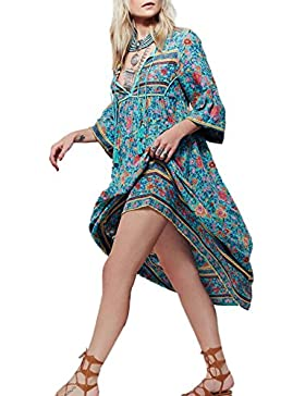 Verano Mujer Bohemo Impresion Midi Vestido de Playa Fashion Cuello V Vendaje Manga 3/4 de Cóctel Partido Club...
