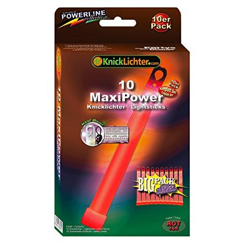 10 MaxiPower Knicklichter ROT! Extra dick! 150x15mm! Jetzt im günstigen BIG Sparpack! Neueste Generation. Unter eigenem Label produziert.