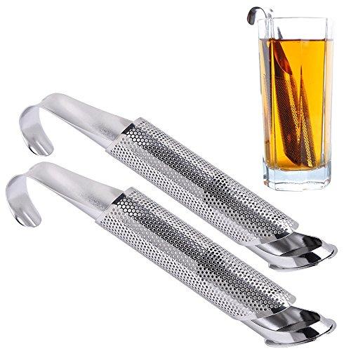 Pingenaneer filtro di tè colino da tè infusore di tè tubo con lungo manico in acciaio inox resistente al calore, pack di 2infusores