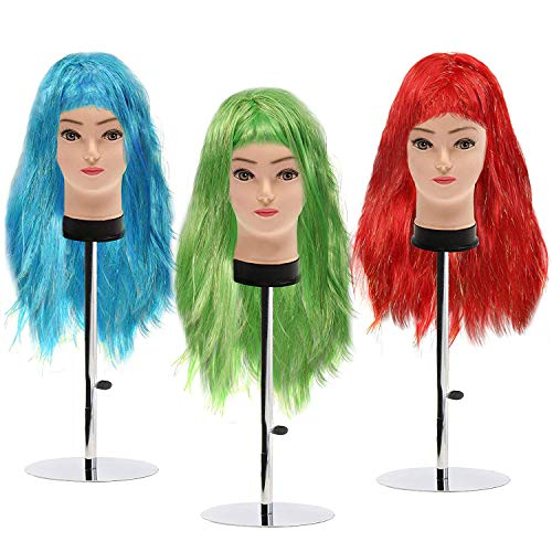 Kurtzy parrucche colorate corte lunghe donne - 3 parrucca carnevale (68cm) rosso, blu, verde lunga fibra ottica sintetica - adatto per travestimenti feste in costume con frangia