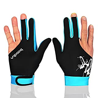 Anser M050912 Man Woman Elastic Lycra 3 Fingers Show Gloves for Billiard Shooters Carom Pool Snooker Cue Sport - Wear on the Right or Left Hand 1PCS (Sky Blue, L)