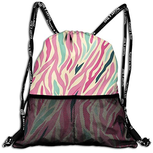 Mesh Beam Backpack Lightweight Foldable Large Capacity Drawstring Casual Rucksack, Funky Fashion Pattern with Colorful Zebra Stripes Pastel Tones Ethnic Modern,Unisex Fitness Bag