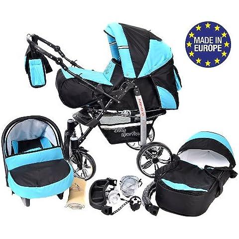 Baby Sportive - Sistema de viaje 3 en 1, silla de paseo, carrito con capazo y silla de coche, RUEDAS GIRATORIAS y accesorios, color negro, azul