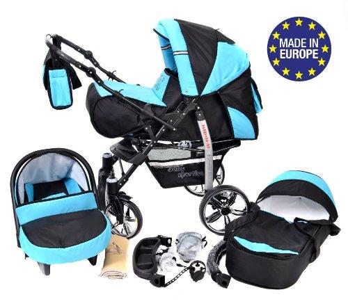 Sportive X2-3 in 1 Reisesystem einschließlich Kinderwagen mit schwenkbaren Rädern, Kinderautositz, Buggy und Zubehör (3 in 1 Reisesystem, Schwarz, Türkis)
