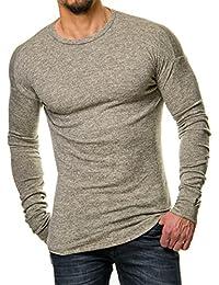 VIP Clothing Herren Skater Longsleeve Sweater Meliert Bordeaux Rot Schwarz Blau Grau 409