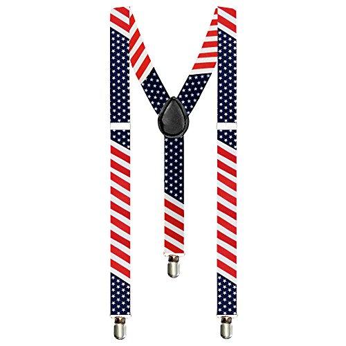 Taffstyle® Elastische Y Form Hosenträger mit 3 Clips und verstellbare Länge - Fanartikel für Fussball Weltmeisterschaft WM Fußball EM Europameisterschaft 2016 mit Flagge Motiv Style - Land: USA
