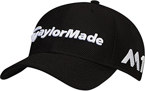 TaylorMade 2017 New Era Tour Authentic 39Thirty Stretch Hat Structured Mens Golf Cap Black Medium/Large