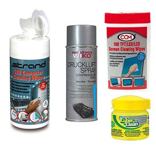 Preisvergleich Produktbild Bildschirmreiniger (TFT), 400 ml Druckluftspray, Cyber Clean Home Office 145 gr. Cup, 100 Feuchttücher für Kuststoffoberlächen