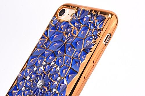 iPhone 8 Hülle, iPhone 7 Plating Gold TPU Bumper Case Soft Silikon Gel Schutzhülle mit Glitzer Bling Diamant & Kippständer Ring, Kristall Muster Stoßdämpfend Gel Schale Etui für Apple iPhone 7/8 + 1 x Blau A