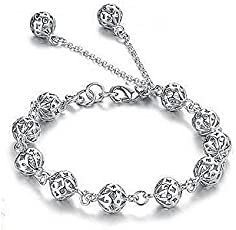 Shining Diva Fashion Sterling Silver Chain Bracelet for Girls(Silver)(8340b)