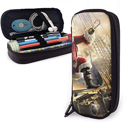 Captain Santa Claus On A Pirate Ship Leather Pencil Case Pouch Zippered Pen Box School Supply for Students,Big Capacity Stationery 3D Nanotechnology Printed Box for Girls Boys and Adults