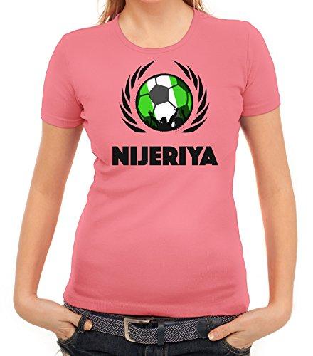 ShirtStreet Nijeriya Wappen Soccer Fussball WM Fanfest Gruppen Fan Wappen Damen T-Shirt Fußball Nigeria Rosa