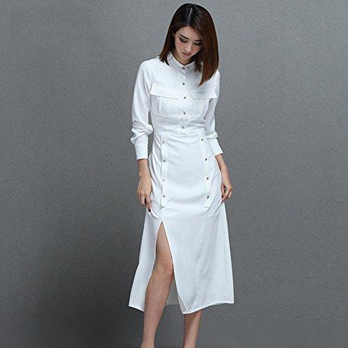 WZW Bianco aderente in piedi collare delle donne doppie punte manica lunga Pullover vestito di un pezzo . white . 2xl