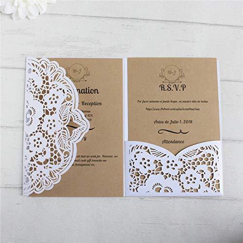 ZheQR White Wedding Invitations Rural Laser Cut Wedding Card Pocket fold Customized Printing Insert RSVP Party suupply,White,Customized Printing (White Pocket Einladungen)