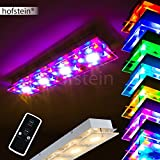 Längliche Deckenleuchte Severn mit RGB-LED Farbwechsler aus Metall Chrom für Wohnzimmer - Schlafzimmer - Flur - mit der Fernbedienung ist eine gezielte Farbauswahl der farbigen LEDs möglich