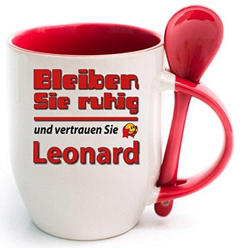 2 Namenstassen Leonard bleibt ruhig + WM Pott 2018.'Roter Becher und Fussballtasse. Siehe auch Produktbild 2.
