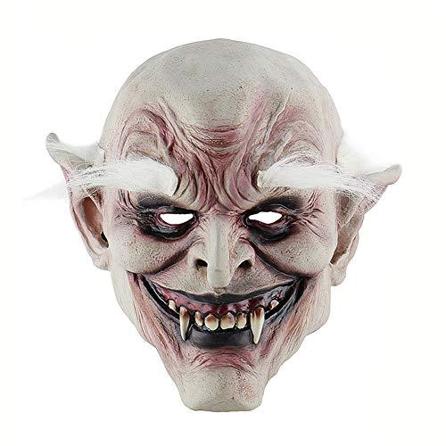 Kostüm Vampira Deluxe - Halloween Latex Maske Gruselig White-Eyed Vampir 3D Deluxe Neuheit Kostüm Party Cosplay Spielzeug Eine Größe