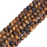 SHGbeads - Perline rotonde in fluorite di quarzo semiprezioso, 6 mm, per creazione di gioielli, fai da te, artigianato, 38,1 cm, Yellow Tiger Eye, 6 mm