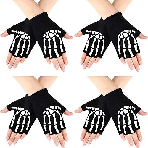 Syhood 4 Paar Halloween Halbfinger Skeletthandschuhe Unisex Stretch Strickhandschuhe Glow in Die Dunklen Knochen Handschuhe für Halloween Kostüm Zubehör (Dunklen Paar Kostüm)