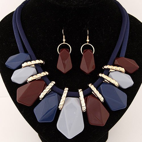 Zygeo - Design bunten Schmucks Sets Art und Weise b?hmische Strass Acryl Geometrische Halskette Ohrringe f¨¹r Frauen-Schmucksachen [Farbe2]
