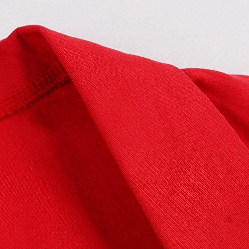 VKStar® Retro Herbst 50er Schleife Abendkleid / Cocktailkleid langarm Rockabilly Swing Kleid Rot-Schleife