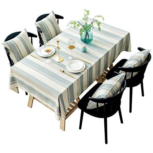 """Calyvina Streifen Baumwolle Leinen Tischdecke rechteckige Tischabdeckung für Küche Party (55 W X 94 L Zoll),Beige,51""""×94""""(130 * 240cm)"""