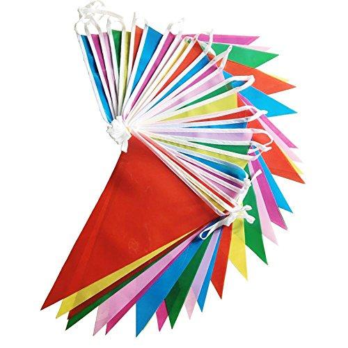 kette Wetterfest Girlande Wimpel Mit 30 Stück Farbenfroh Wimpeln, Mehrfarbige Plastik Wimpel Fahnen ideal für Geburtstagsparty, Party Dekoration Feiern (36 Fuß) (Wimpel Fahnen)