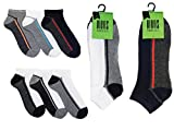 6 x Super Soft Striped Trainer Socks Assorted Grey / White / Colours - Size UK 7-11 Eur 41-46