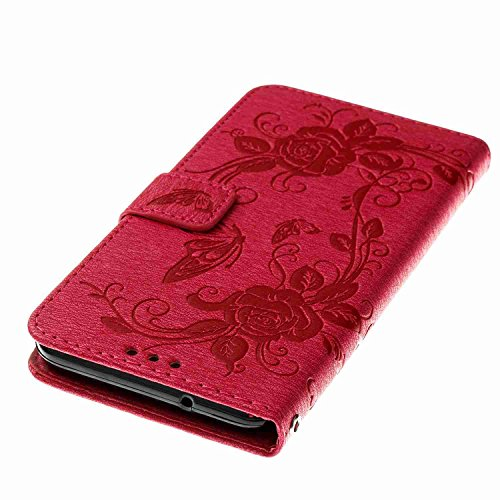 Galaxy J5 2017 Hülle, Samsung Galaxy J520 Schutzhülle Alfort Slim PU Leder Case Hülle Bookstyle Handyhülle Schutzhülle für Samsung Galaxy J5 2017 / J520 Flip Wallet Case Tasche mit Strap Portable Lede Rose Rot