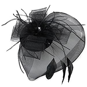 FACILLA® GRAND CHAPEAU A PINCE GOTHIQUE CEREMONIE NOIR STRASS PLUME
