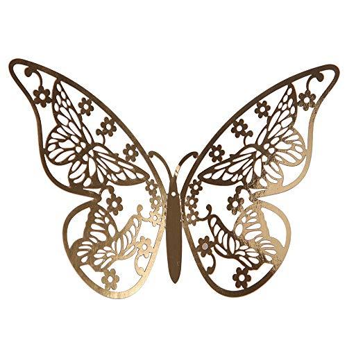 YWLINK Estilo Moderno 12 UNIDS PláStico Mariposa Espejo DecoracióN Home Room Art 3D DIY Moda Pegatinas...