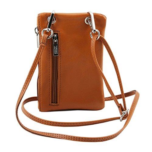 Tuscany Leather TL Bag Tracollina Portacellulare in pelle morbida Celeste Blu