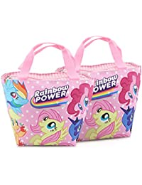 Finex - Set Of 2 - Pink My Little Pony Zippered Lunch Tote Bag With Carry Handles - EZ-Carry Totes