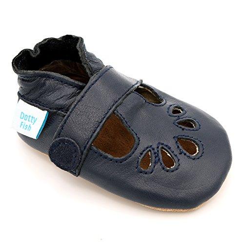 Weiche Baby Lederschuhe von Dotty Fish - T-bar Schuhe für Mädchen in Marineblau - 6-12 Monate