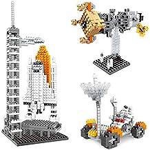 Nanoblock Amztronics, Puzzle en 3D de Centro Espacial Miniatura Diamond Partículas de Bloques Lego Serie Espacial Bloques de Construcción Rompecabezas Ensamblados Vagabundo Rompecabezas Juguetes de los niños no Toxico ABS Meterial