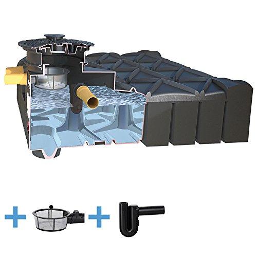Zisterne 5000 Liter ECO Flachtank F-LINE inkl. Deckel, Korbfilter und Überlaufsiphon - Kunststoff, Kunststoffzisterne, Komplettset