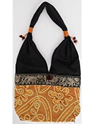 Sac bandoulière, sac besace soie Thai Orange cuivré brodé séquins