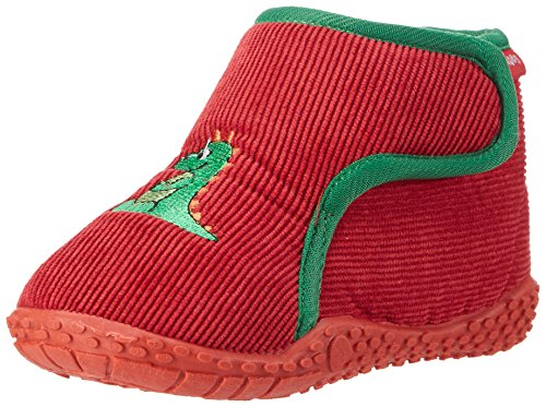 Playshoes Hausschuh Dino, Chaussons mixte enfant Rouge - Rot (rot 8)