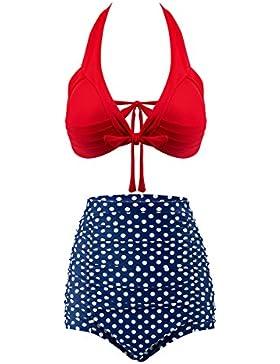 Mujer Retro Polka Punto Cintura Alta Traje de Baño Bikini, OMorc Conjunto de bikini Ropa de baño, Elegante y Moda-L