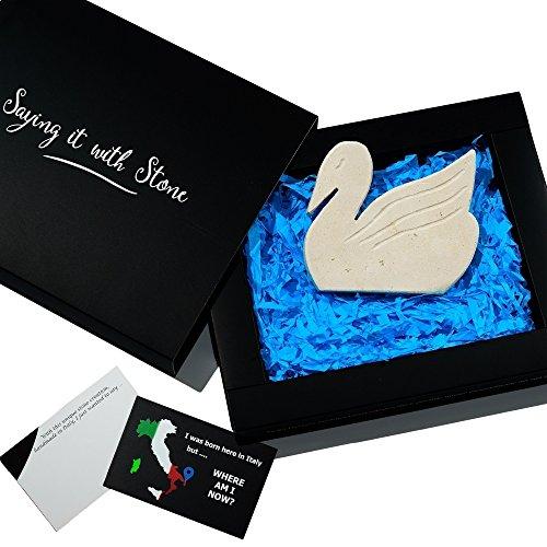 Schwan aus Stein Handgemacht in Italien - Symbol der Liebe, Anmut, Eleganz, Reinheit, Einheit und Treue - Box und Nachrichtenkarte enthalten -Romantisches Weihnachtsgeschenk Ehemann Ehefrau -