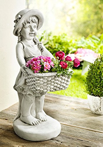 Unbekannt XXL Mädchen mit Pflanztopf Garten Figur Skulptur Statue Deko Dekoration 62cm