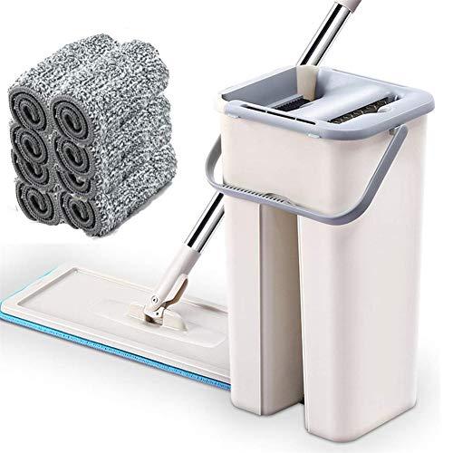 Kit de Herramientas de Limpieza Dust Wizard Mop, separe los Espacios Izquierdo y Derecho con el escurridor de Cubo y Las Almohadillas de trapeador de Microfibra Reutilizables (8 paños de Limpieza)